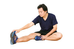 Asian Man Stretching Workout. Royalty Free Stock Images