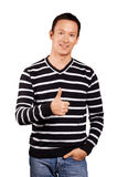 Asian Man In Striped Pullover Royalty Free Stock Photography
