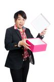 Asian man surprise open a blank gift box Royalty Free Stock Photo