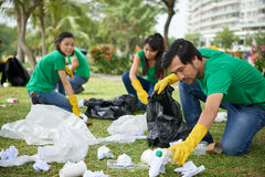 Asian man taking care of environment. Portrait of middle-aged Asian men in casualwear crouching to plastic waste and picking it up in bin bag Stock Images