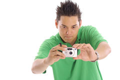 Asian man taking a photo Stock Photo