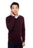 Asian man talk to mobile phone Stock Photo