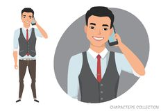 An asian man is talking on the phone Royalty Free Stock Image