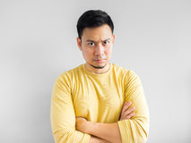 Asian man is thinking. royalty free stock images