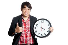 Asian man thumbs up at 4 o'clock Stock Photos