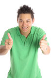 Asian man thumbs up vertical Stock Photo