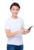 Asian man touch on mobile phone Stock Photos