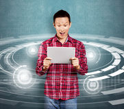 Asian Man With Touch Pad Royalty Free Stock Photo