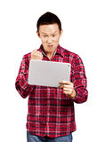 Asian Man With Touch Pad Royalty Free Stock Photography