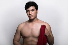 Asian man with towel in the hand Royalty Free Stock Images