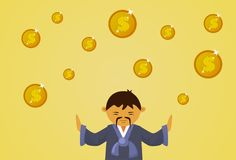 Asian Man In Traditional Clothes With Dollar Coins Falling Financial Business Success Concept. Flat Vector Illustration Stock Images