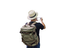 Asian man traveling backpacker royalty free stock photos