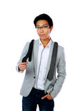 Asian man trying to choose a tie Stock Photography