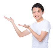Asian man with two hand open palm Royalty Free Stock Photography