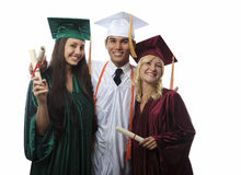 Asian man and two women graduates Stock Photos