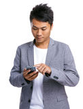 Asian man use phone Stock Photography
