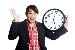 Asian man very happy finish work at five Royalty Free Stock Photo