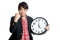 Asian man very happy finish work at five Stock Photos
