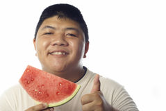 Asian man watermelon good Stock Image