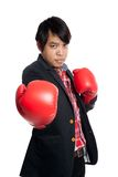 Asian man wear boxing gloves ask to fight Royalty Free Stock Image