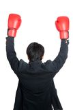 Asian man wear boxing gloves raise his hands up Royalty Free Stock Photo