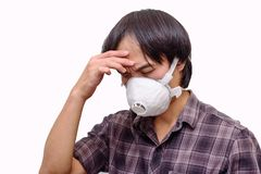 A asian man wear Hygienic mask. For protect PM2.5 Dust on White background royalty free stock photography