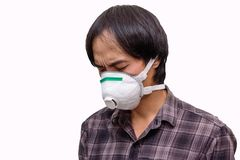 A asian man wear Hygienic mask. For protect PM2.5 Dust on White background stock image