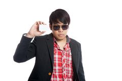 Asian man wear sunglasses with a card Royalty Free Stock Photography