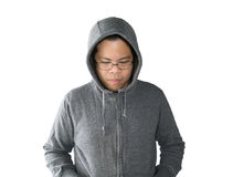 Asian man is wearing grey sweater with hood Stock Images