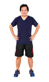 Asian Man Wearing Sportwear With Hands on Hips. Stock Photo