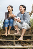 Asian Man Woman Couple Drinking Coffee Beach Steps Stock Photos