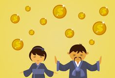 Asian Man And Woman In Traditional Clothes With Dollar Coins Falling Financial Business Success Concept. Flat Vector Illustration Stock Photography