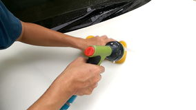 Asian Mans Hand Cleaning Front Bonnet Car With Sponge And Squirt Water Hose stock video footage