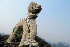 Asian marble dragon sculpture Stock Photo