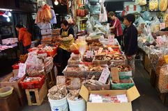 Asian market located near hongkong city underground. Lots of boxes with food, groceries and vegetables colorfull Royalty Free Stock Photography