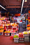 Asian market located near hongkong city underground. Lots of boxes with food, groceries and vegetables colorfull Stock Photo