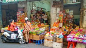 Asian market scene in Hanoi, Vietnam Royalty Free Stock Images