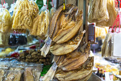 Asian Market. Shop selling dried salted fish and fish maw Stock Photography
