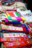 Asian market with silk and linen clothes Stock Photography