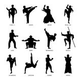 Asian martial arts black silhouettes. Asian martial arts, isolated vector black silhouettes. Karate and kung fu, sumo and boxing Royalty Free Stock Images