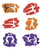 Asian Martial Arts grunge icons Stock Photography