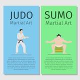 Asian martial arts. Judo and sumo. Asian martial arts vector flyers set. Judo and sumo illustration Royalty Free Stock Photos