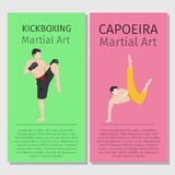 Asian martial arts. Kickboxing and Capoeira Royalty Free Stock Photography