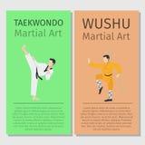 Asian martial arts. Taekwondo and Wushu. Asian martial arts vector flyers set. Taekwondo and Wushu illustration Royalty Free Stock Photography
