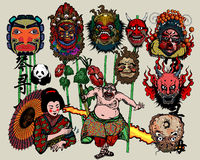 Asian Masks. Vector illustration of masks and different creatures isolated on color background Stock Photos