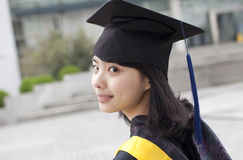 Asian master girl graduate Stock Image