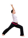 Asian mature woman doing yoga. Isolated on white background Royalty Free Stock Images
