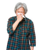 Asian mature woman runny nose Royalty Free Stock Photo