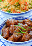 Asian meal. With meat dumplings and sczheuan fried rice Royalty Free Stock Image