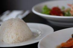 Asian meal on restaurant table stock photos